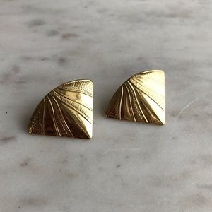 Vintage 80s 90s Oversized Gold Earrings Triangle